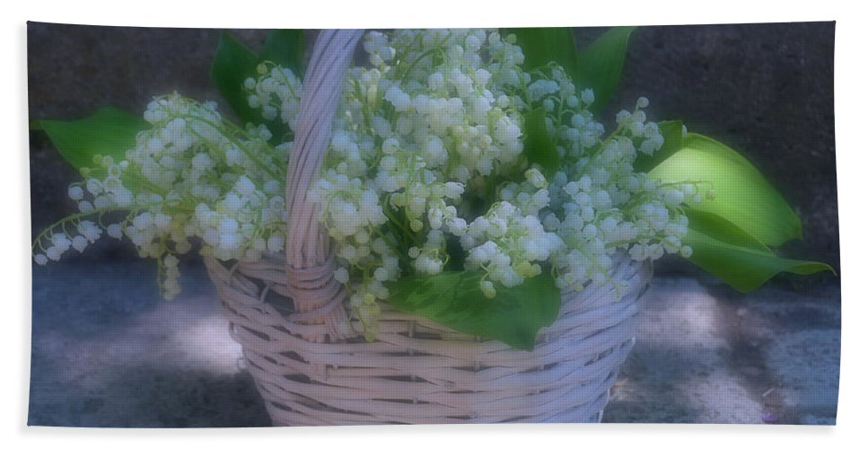Lily Of The Valley In A Basket Beach Towel featuring the photograph Dancing Light by Luv Photography