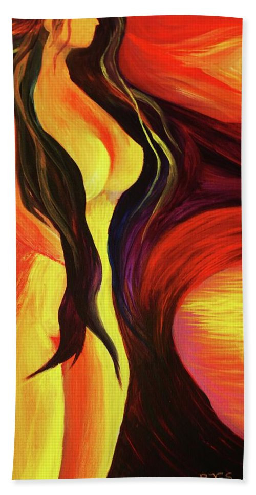 Female Beach Towel featuring the painting Beautiful Morning by Angel Reyes