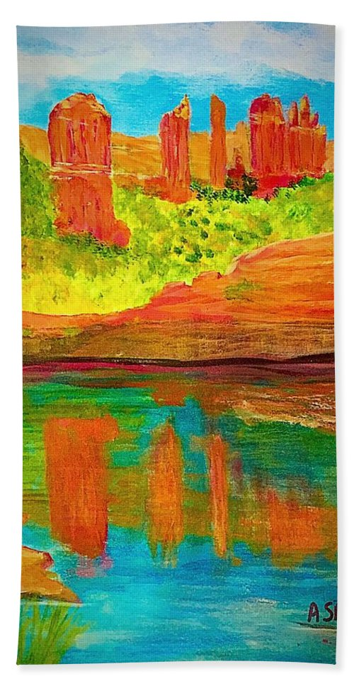 Anne Sands Beach Towel featuring the painting Beautiful Sedona by Anne Sands