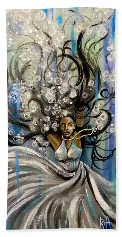 Artist_ria Beach Towel featuring the painting Beautiful Struggle by Artist RiA
