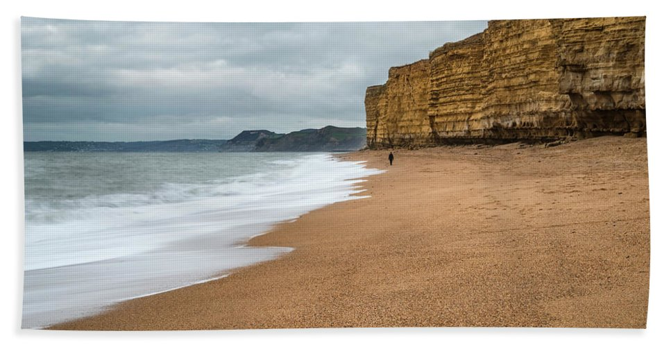 Burton Bradstock Beach Towel featuring the photograph Beautiful Vibrant Sunset Landscape Image Of Burton Bradstock Gol by Matthew Gibson