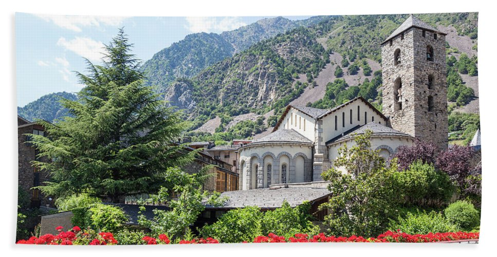 Andorra Beach Towel featuring the photograph Beautiful view of Andorra La Vella by GoodMood Art