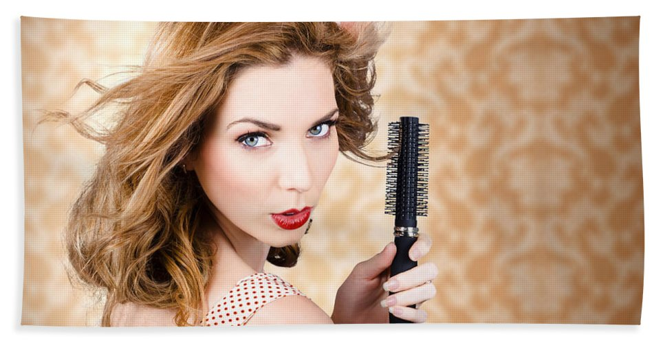 Hair Beach Towel featuring the photograph Beautiful Woman With Short Red Hair. Hairdressing by Jorgo Photography - Wall Art Gallery