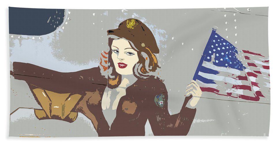 Flag Beach Towel featuring the painting Beauty And The Flag by David Lee Thompson