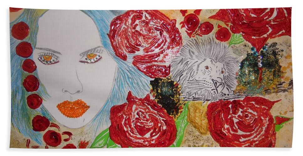 Beauty Beach Towel featuring the painting Beauty and the Lion by Nicole Burrell