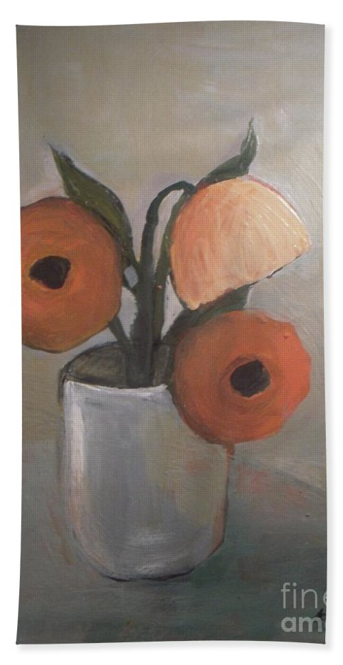 Abstract Beach Towel featuring the painting Beauty In Jar by Vesna Antic