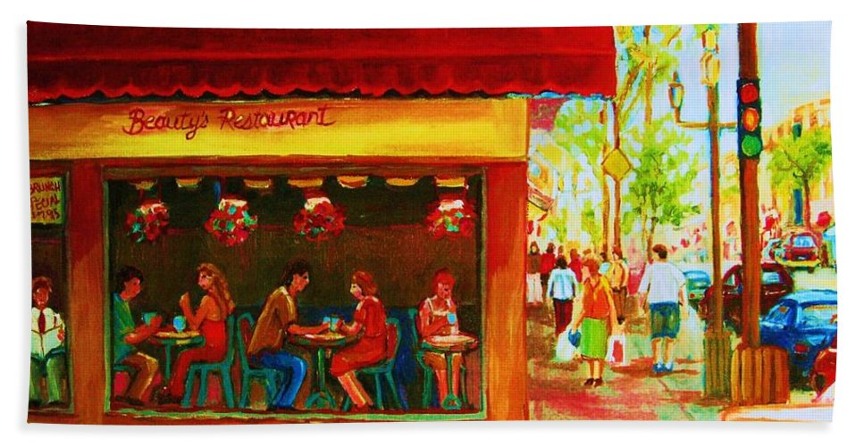 Beautys Cafe Abd Luncheonette Beach Towel featuring the painting Beautys Cafe With Red Awning by Carole Spandau