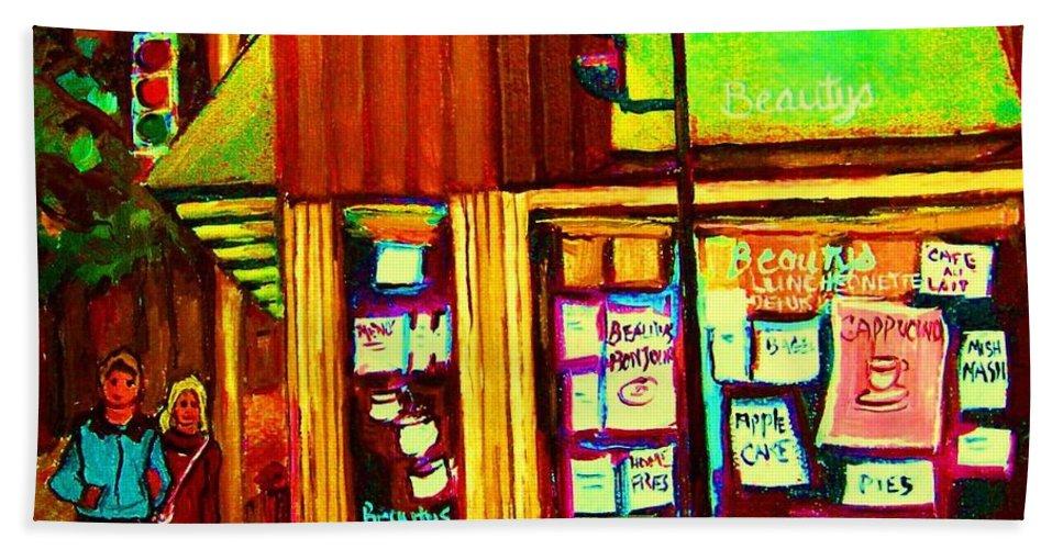 Beautys Restaurant Beach Towel featuring the painting Beautys Famous Mishmash by Carole Spandau