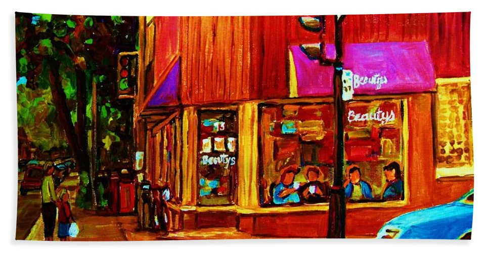Beautys Restaurant Montreal Beach Towel featuring the painting Beautys Luncheonette by Carole Spandau