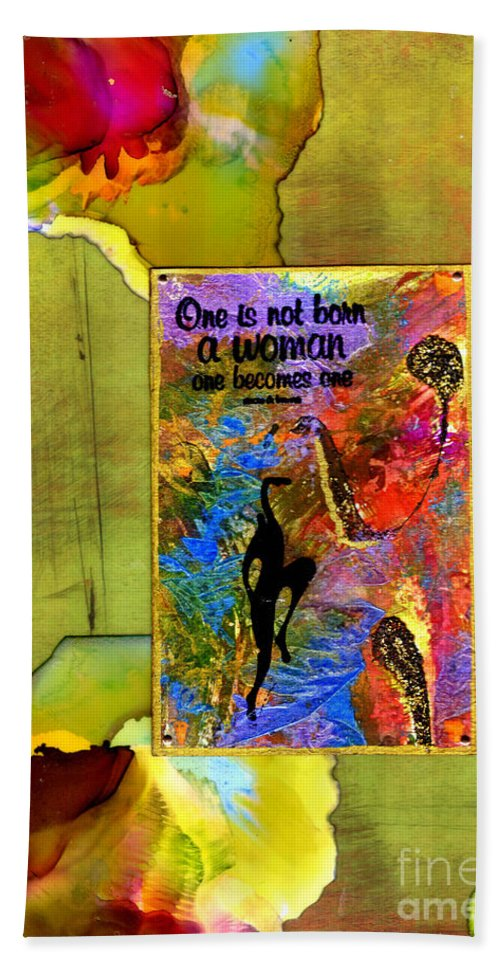 Wood Beach Towel featuring the mixed media Becoming A Woman by Angela L Walker