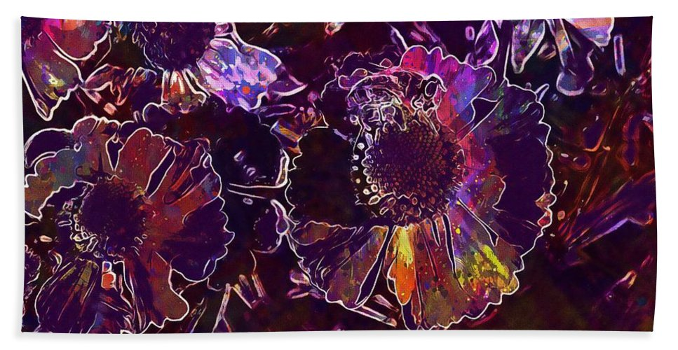 Bee Beach Towel featuring the digital art Bee Flower Yellow Nature Insect by PixBreak Art