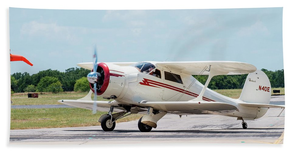 Beechcraft D17s Beach Towel featuring the photograph Beechcraft Staggerwing D17s by Philip Duff
