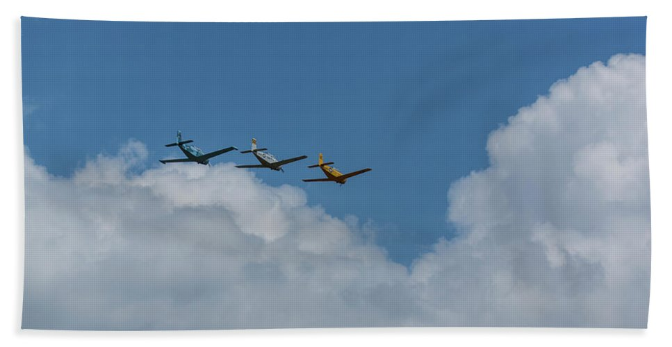 Aircraft Beach Towel featuring the photograph Beechcraft T-34 Mentor Airplane Trio 4 by John Brueske