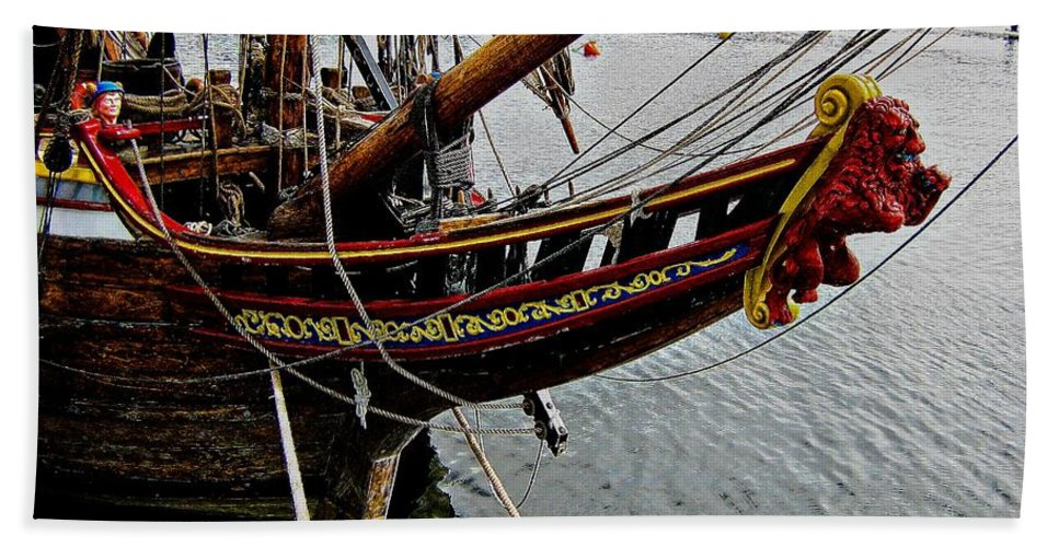 Wooden Ship Beach Towel featuring the photograph Before Setting Sail by Douglas Barnard