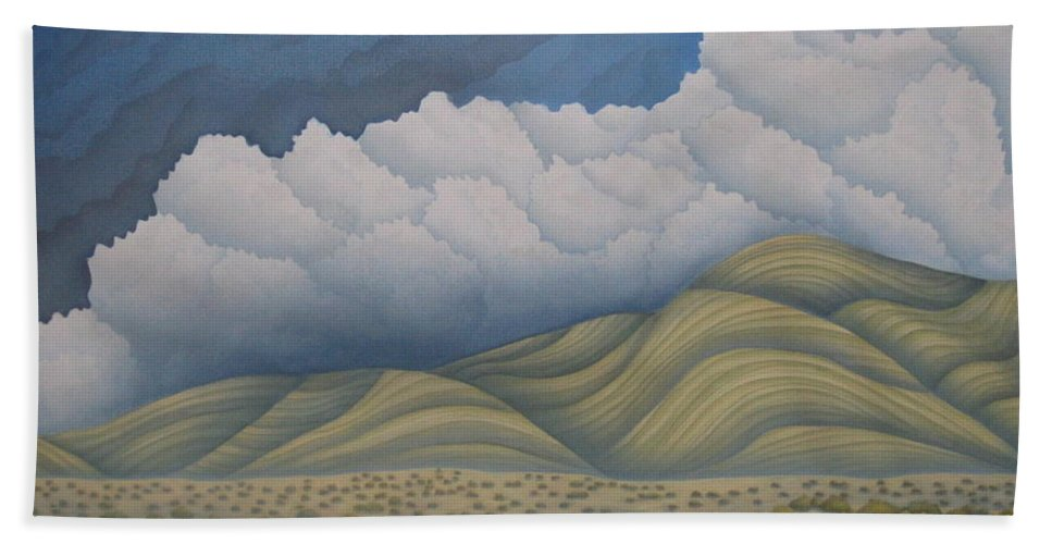 Landscape Beach Towel featuring the painting Before The Rain by Jeniffer Stapher-Thomas