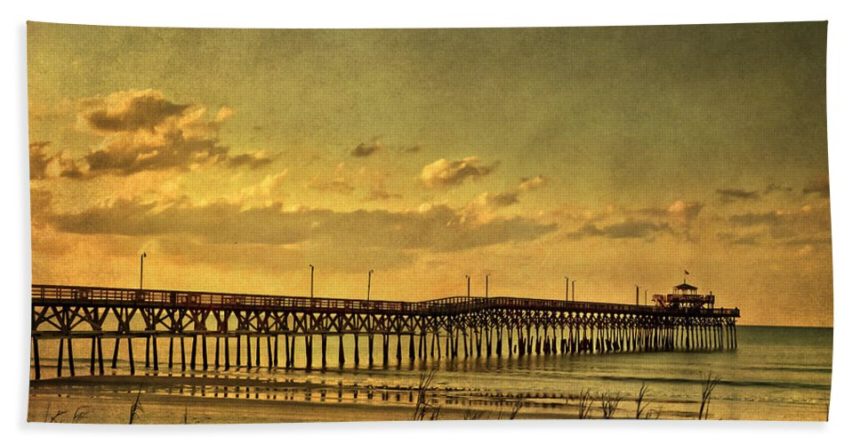 Cherry Grove Beach Towel featuring the photograph Behind Cherry Grove Pier by Trish Tritz