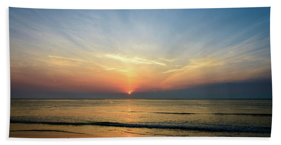 Landscape Beach Towel featuring the photograph Behind The Clouds by Michael Scott