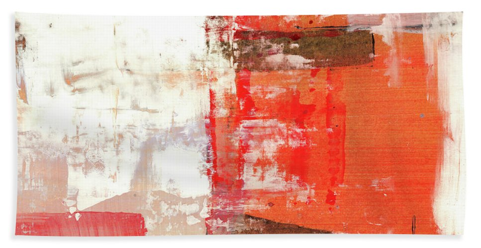 Art Beach Sheet featuring the painting Behind The Corner - Warm Linear Abstract Painting by Modern Abstract