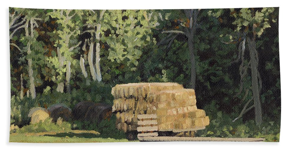 Landscape Beach Towel featuring the painting Behind The Grove by Bruce Morrison