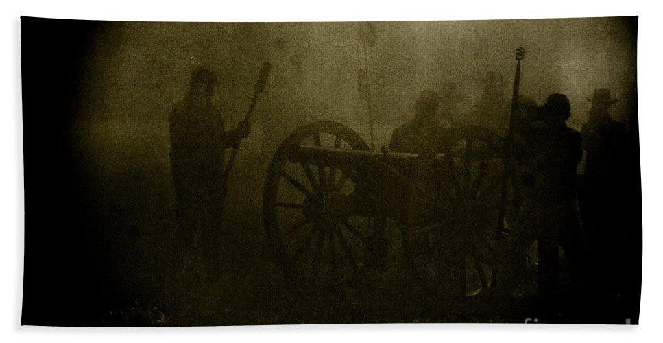 Civil War Re-enactment Beach Towel featuring the photograph Behind The Smoke by Kim Henderson