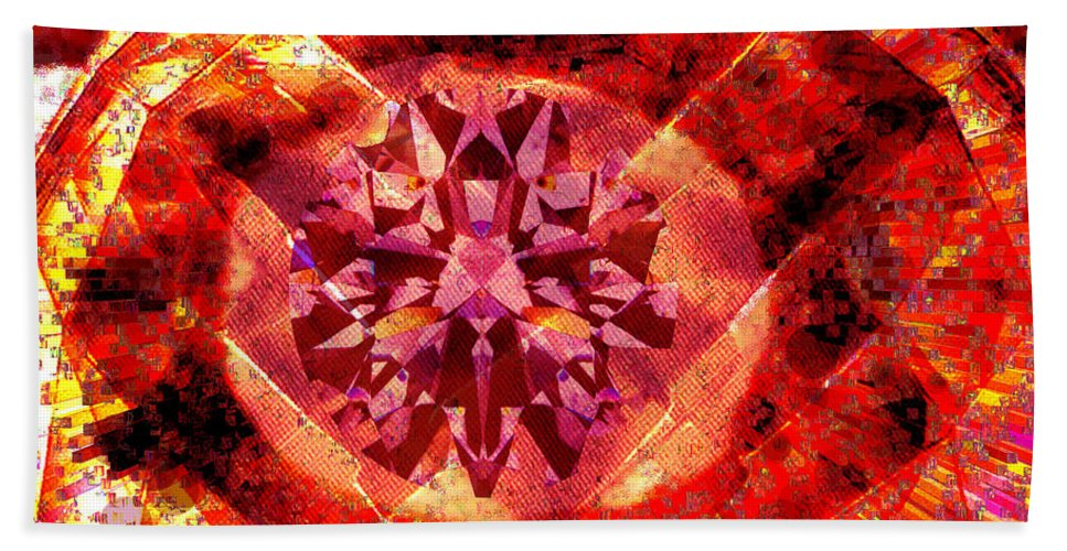 Abstract Beach Towel featuring the photograph Behold The Jeweled Eye Of Blood by Seth Weaver