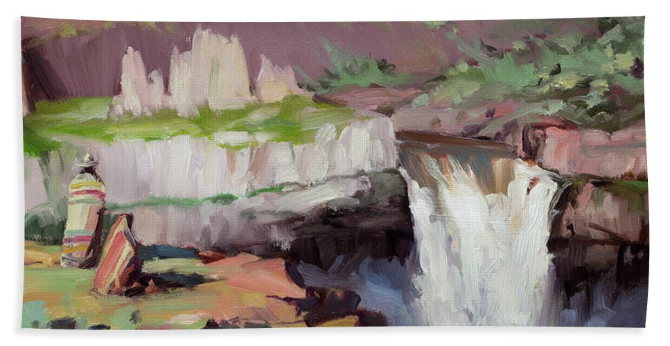 Waterfall Beach Towel featuring the painting Beholding Palouse Falls by Steve Henderson