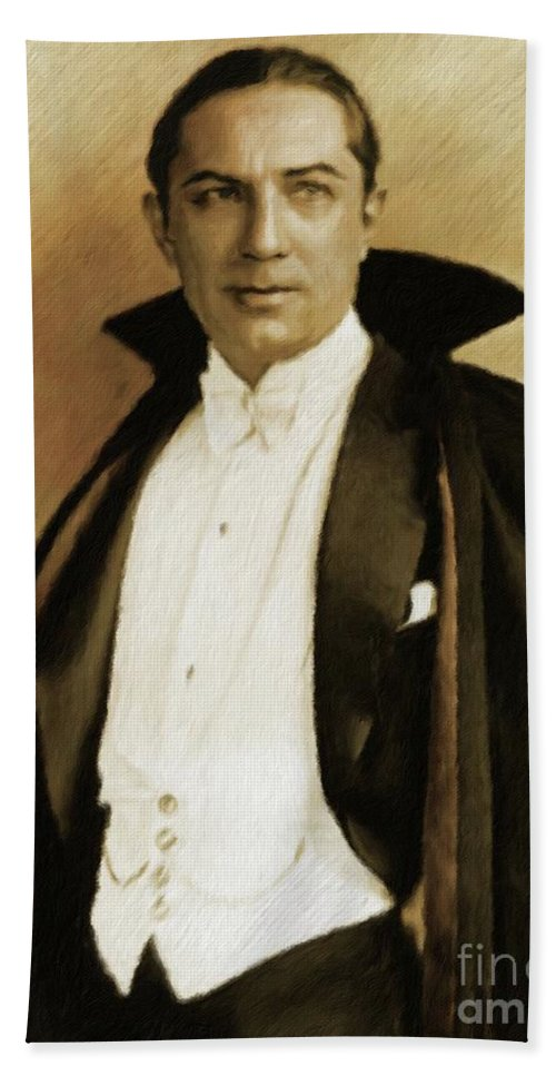 Bela Beach Sheet featuring the painting Bela Lugosi As Dracula by Mary Bassett
