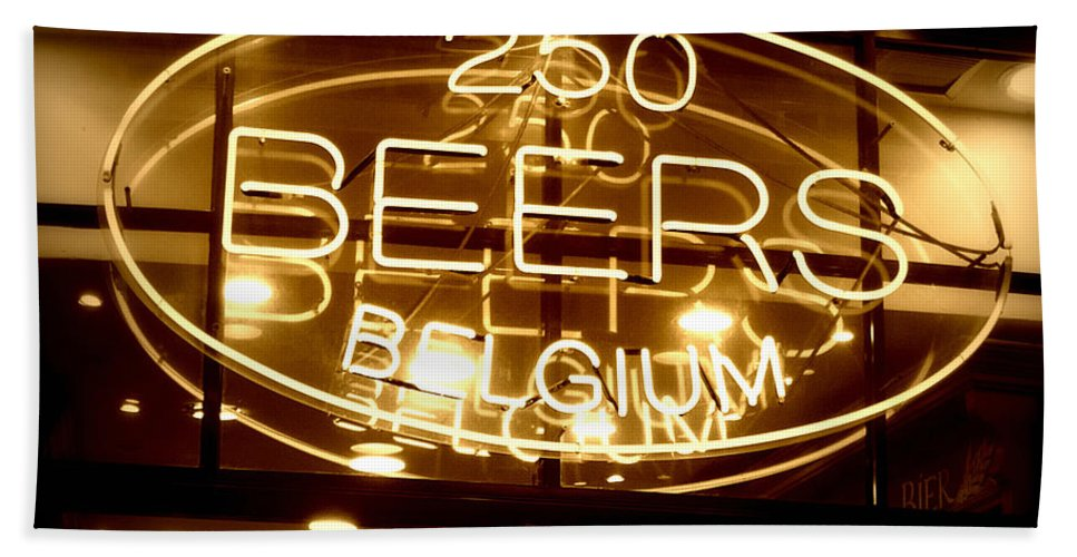 Home Bar Beach Towel featuring the photograph Belgian Beer Sign by Carol Groenen