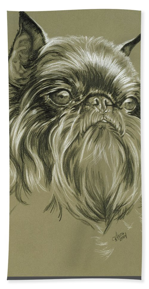 Toy Group Beach Towel featuring the drawing Belgian Griffon by Barbara Keith