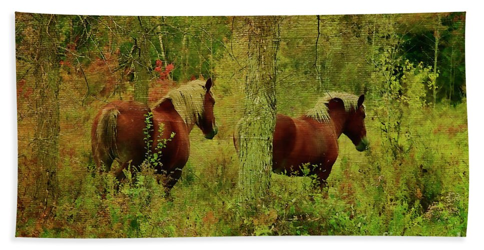 Horses Beach Towel featuring the photograph Belgians In Fall by Deborah Benoit