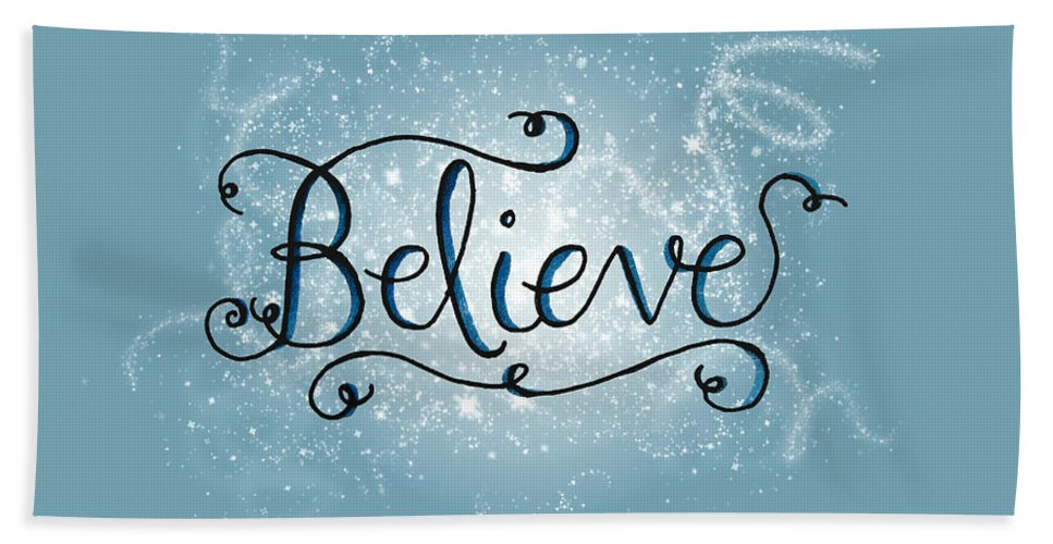 Believe Beach Towel featuring the digital art Believe Winter Art by Michelle Eshleman