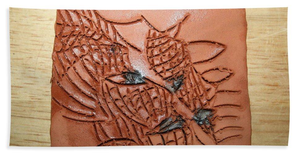 Jesus Beach Towel featuring the ceramic art Belinda And Carl - Tile by Gloria Ssali