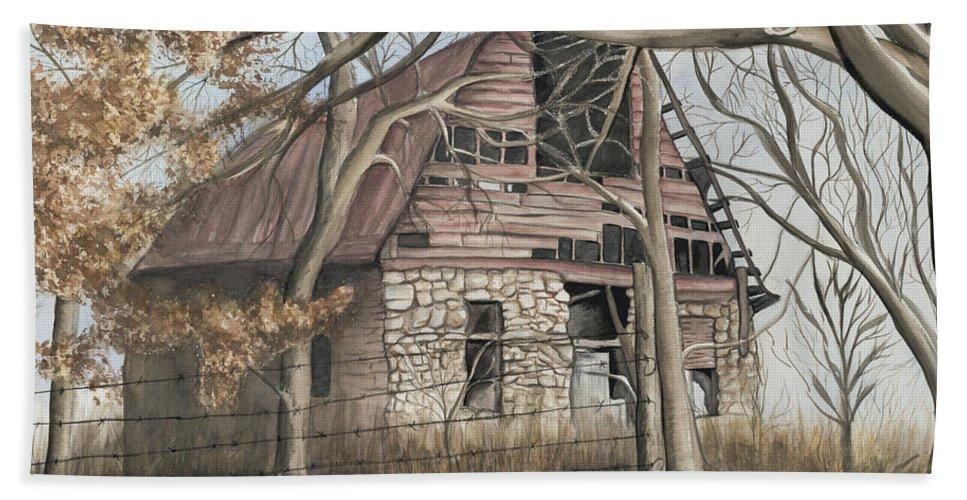 Barn Beach Towel featuring the painting Bella Vista Barn by Patty Vicknair