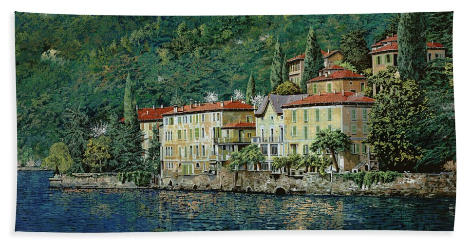 Landscape Beach Towel featuring the painting Bellano On Lake Como by Guido Borelli