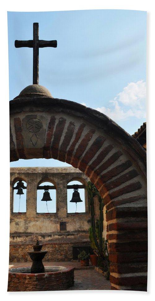 Mission San Juan Capistrano Beach Towel featuring the photograph Bells Of Mission San Juan Capistrano by Kyle Hanson