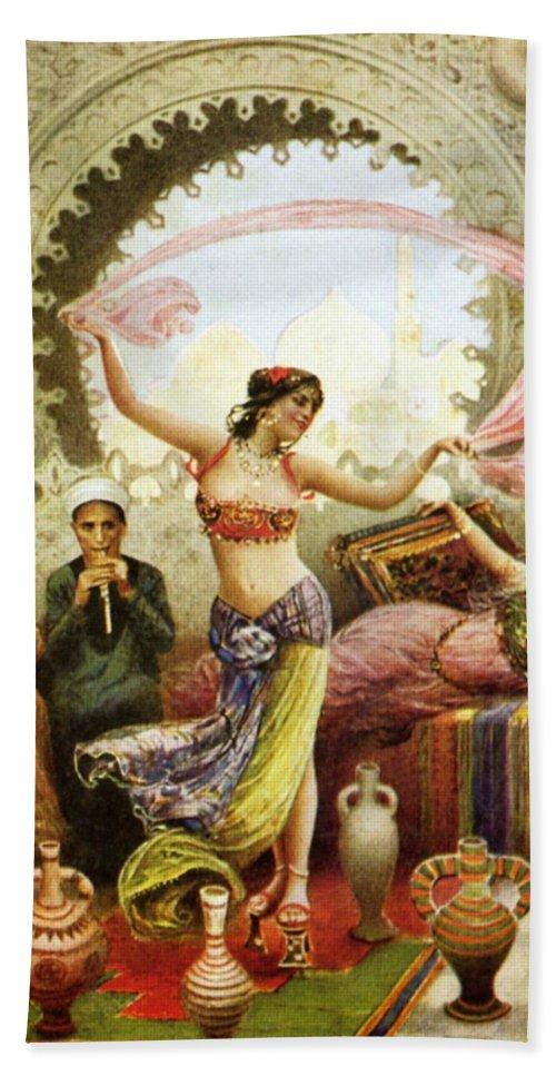 Belly Dancer In Harem Beach Towel featuring the painting Belly Dancer In  Harem Paintings For Sale