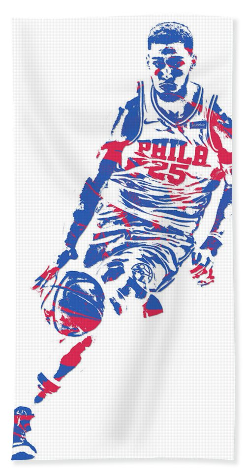 f33a6ee06d2 Ben Simmons Beach Towel featuring the mixed media Ben Simmons Philadelphia  Sixers Pixel Art 1 by