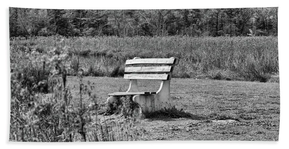 Seasons Beach Towel featuring the photograph Bench Park Black White by Chuck Kuhn