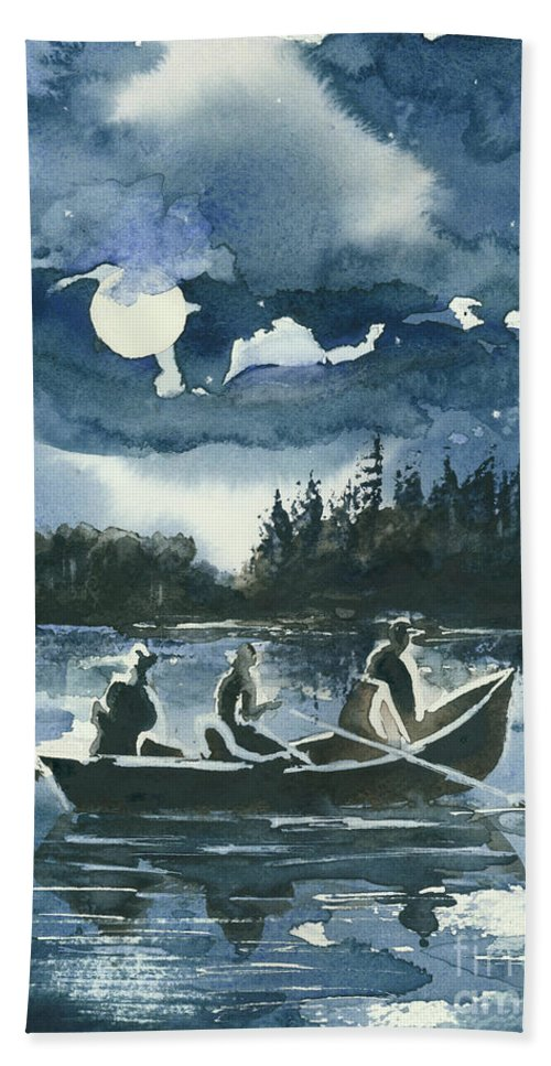 Watercolor Beach Towel featuring the painting Beneath The Stars by Elisabeta Hermann