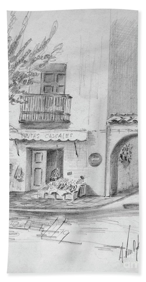 Wood Beach Towel featuring the drawing Benidorm Spain Store Front by Dorothy Hilde