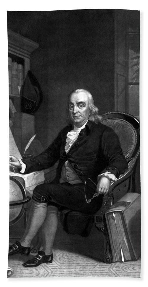 Benjamin Franklin Beach Towel featuring the painting Benjamin Franklin -- The Scientist by War Is Hell Store