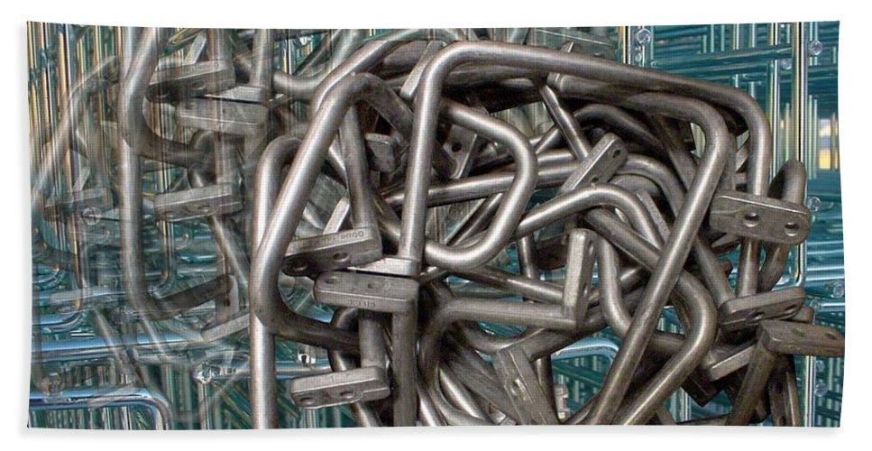 Digital Art Beach Sheet featuring the digital art Bent Heavy Wire by Ron Bissett