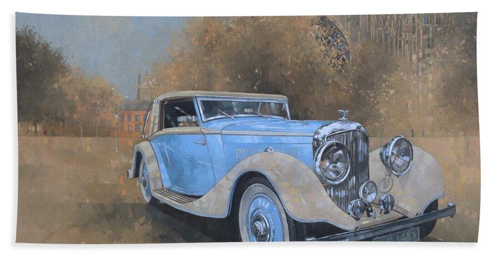 Car; Vehicle; Vintage; Automobile; Blue; Bentley; Kellner; Old Timer Beach Towel featuring the painting Bentley By Kellner by Peter Miller
