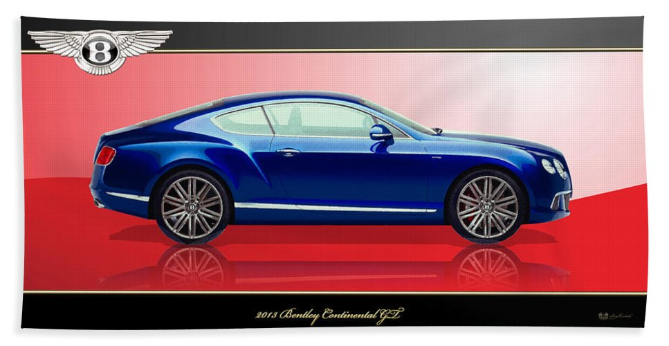 Wheels Of Fortune By Serge Averbukh Beach Towel featuring the photograph Bentley Continental GT with 3D Badge by Serge Averbukh