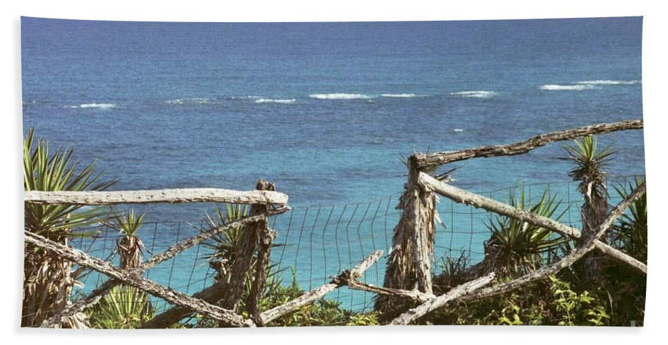 Bermuda Beach Sheet featuring the photograph Bermuda Fence And Ocean Overlook by Heather Kirk