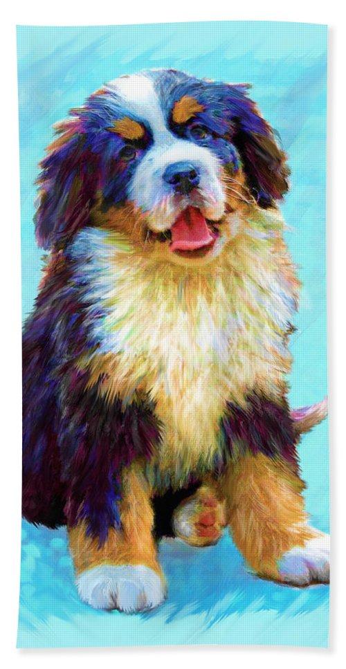 Dog Beach Towel featuring the digital art Bernese Mountain Dog by Jane Schnetlage
