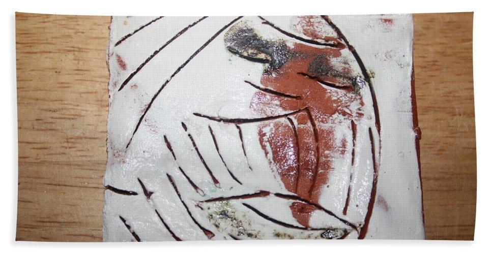 Jesus Beach Towel featuring the ceramic art Bertha - Tile by Gloria Ssali
