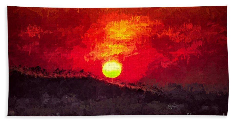 Beskidy Beach Towel featuring the digital art Beskidy Sunset by Mariola Bitner