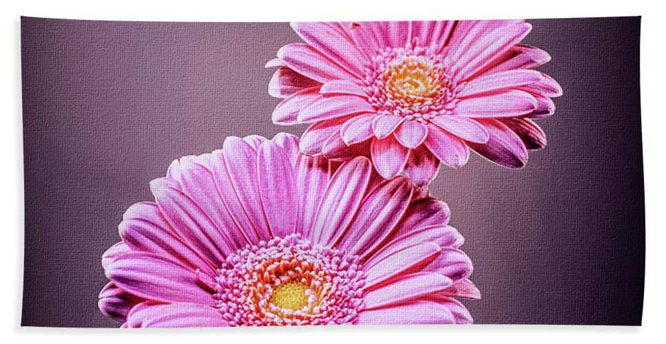 Pink Flowers Beach Towel featuring the photograph Best Friends Pink by Mona Stut