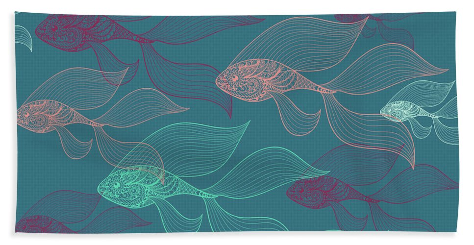 Dolphins Beach Towel featuring the photograph Beta Fish by Mark Ashkenazi